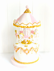 Gold, Pink and White Carousel Merry Go Round Cake London Cherie Kelly