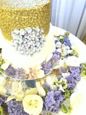 Gold Sequins with Sugar Blue Hydrangeas Wedding Engagement Cake Lanesborough Hotel Cherie Kelly London