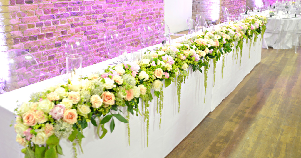 Head Table Floral Runner  Cherie Kelly Wedding Flowers Decoration London