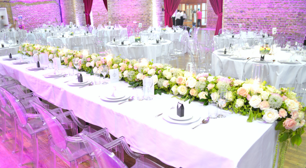 Head Table Floral Runner with candles Cherie Kelly Wedding Flowers Decoration London