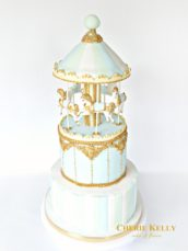 Light Blue, Mint and Gold First Birthday Boy Christening Carousel Cake Cherie Kelly London