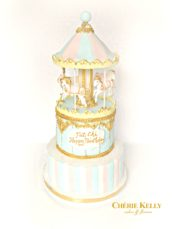 Light Tiffany Blue, Pink and Gold Birthday Girl Christening Carousel Cake Cherie Kelly London