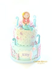 Lilac, Mint and Light Turquoise Under the Sea Ocean Mermaid Birthday Cake Cherie Kelly London