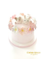 Little Guinea Pig and Bunny Rabbit Flower Wreath Birthday Cake Cherie Kelly London