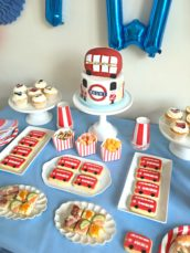 London Red Bus, Underground, Queen's Guard England Themed Party Cake Table Birthday Cake and Cookies Cherie Kelly London