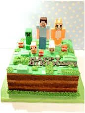 Minecraft Creepy, Steve and Stampy Cat Birthday Cake London Cherie Kelly