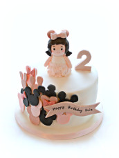 Minnie Mouse Balloons Little Girl Two Years Old Birthday Cake Cherie Kelly London