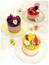 Passionfruit Mango Blueberry Blackberry  Raspberry Strawberry Cheesecakes, Figs Mango and Raspberry Tarts Cherie Kelly Cake London