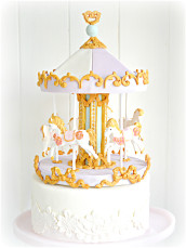 Pretty Pastel Pink, Lilac, Mint and Gold Carousel Cake Birthday Cake London Cherie Kelly