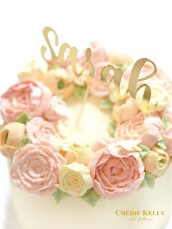 Pastel Korean buttercream flower wreath birthday cake with gold cake topper Cherie Kelly London