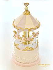 Pastel Pink, Lilac, Mint and Gold Carousel Cake Cherie Kelly London