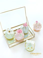 Pastel colour sugar roses and bow sphere bauble ball cakes Cherie Kelly London