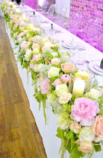 Peony, Roses, Allium, Carnation and Amaranthus Caudatus Head Table Floral Runner with candles Cherie Kelly Wedding Flowers Decoration London