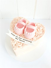 Pink Baby Girl Shoes Buttercream Roses Heart shaped anniversary baby shower cake