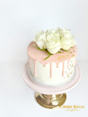 Pink Chocolate Drip Birthday Cake with Gold Leaf and Roses Cherie Kelly London