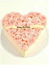 Pink Chocolate Roses Heart Shaped Birthday Cake London Cherie Kelly