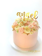 Pink Korean Buttercream Roses Flowers Cake with Gold Angel Cake Topper Cherie Kelly London