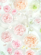 Pink Peach Peony and David Austin Roses Sugar Flowers Wedding Cake and Cupcakes Cherie Kelly London