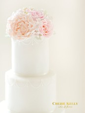 Pink Peach Peony and David Austin Roses Wedding Cake Table Cherie Kelly London