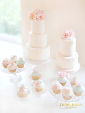 Pink Peach Peony and David Austin Roses Wedding Cake and Cupcakes Dessert Table Cherie Kelly London