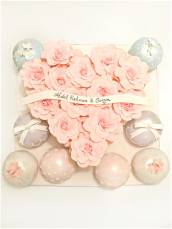 Pink Roses Heart Shape Box Wedding Engagement Cake with Pastels Bauble Temari Ball Cake London Cherie Kelly