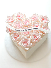 Pink Sugar Roses Heart Shape Birthday Cake Cherie Kelly London