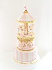 Pink, White and Gold First Birthday Christening Carousel Cake Cherie Kelly London