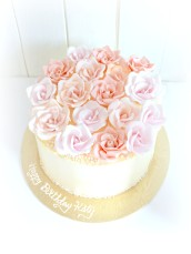 Pink and Peach Roses Ombré Victoria Sponge Birthday Cake Cherie Kelly London
