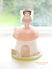 Pink and Peach Woodland Fairy Mushroom Toadstool Flowers First Birthday Girl Cake Cherie Kelly London
