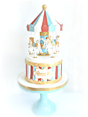 Red, Blue and Gold Carousel Merry Go Round Cake London Cherie Kelly
