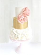Rose Ruffle Metallic Gold Leaf Wedding Cake with Pink Peach Rich Paper Peony London Cherie Kelly