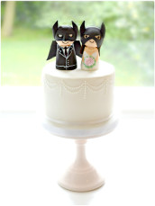 Small Wedding Cake with Batman Bride and Groom Cake Topper Cherie Kelly London