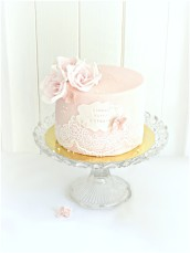 Sugar Lace, Roses and Hydrangea Pink Lychee Birthday Cake