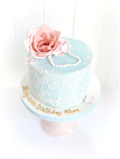 Sugar Rose Lace and Pearl Cake for Mum's 60th Birthday London Cherie Kelly