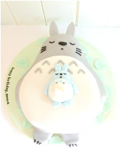 Super Cute Sleeping Grey Totoro, Mini White and Blue Totoro Birthday Cake Cherie Kelly London