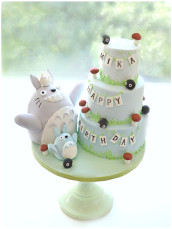 Totoro with his 3 tiers Birthday Cake