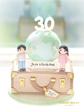 Twins 30th Thirtieth Globe and Suitcase Travel Cake Cherie Kelly London