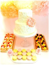 Swirly Buttercream Wedding Cake with Peony and Dessert Table Cherie Kelly London