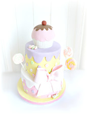 Sweets, Candy and Lollipop Themed Party Cake with Bow and Cupcake