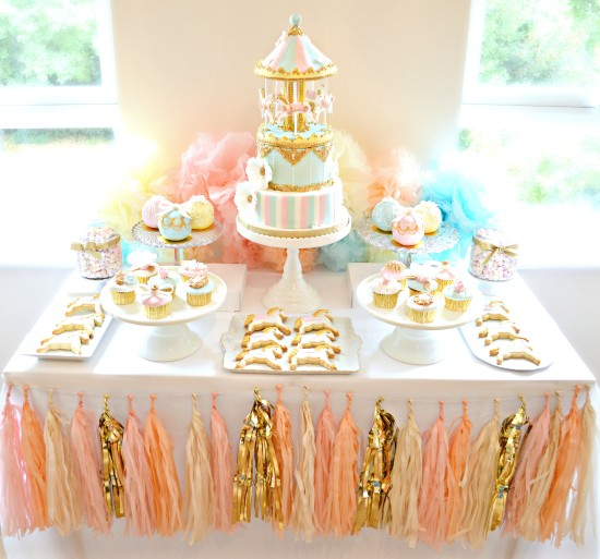 Pink, Blue and Gold Carousel Birthday Cake, Cupcakes and Cookies Dessert Cake Table Cherie Kelly Party Styling London