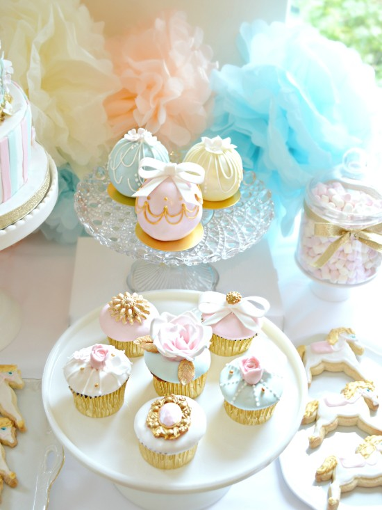 Pink Blue And Gold Carousel Cake Table First Birthday