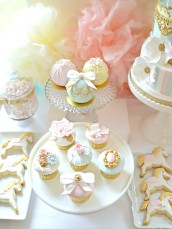 Pink, Blue and Gold Carousel Birthday Cake, Cupcakes and Cookies Dessert Cake Table Cherie Kelly Party Styling and Planning London