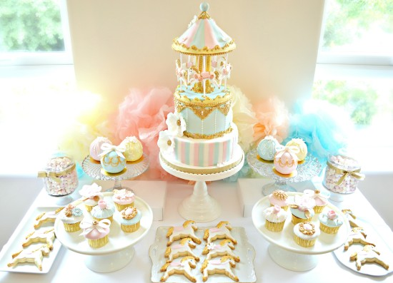 Pink, Blue and Gold Carousel Birthday Cake, Cupcakes and Cookies Dessert Cake Table Cherie Kelly  First Birthday Party Styling  and Planning London