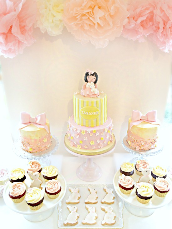 Pink and Cream Bunny Rabbit Themed Birthday Girl Party Cake Table London Cherie Kelly  at Reigate Hill Golf Club Surrey