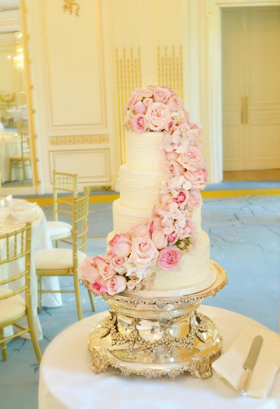 Pink Cascade Floral Wedding Cake At Mandarin Oriental