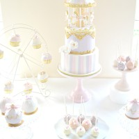 Pink, Lilac and Gold Carousel Cake, Cupcakes on Ferris Wheel, Cakepops and Bauble Ball Cake Dessert Table