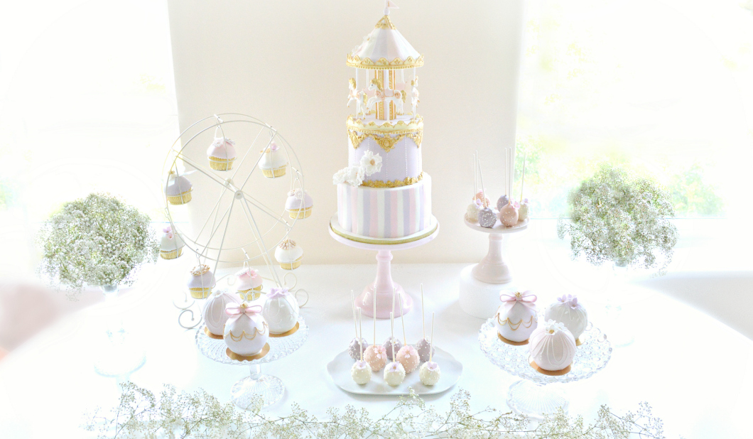 Pink Lilac And Gold Carousel Themed Cake Table Ch 233 Rie Kelly
