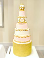 5 Tiers Pink, White and Gold Faberge Egg Baroque Monogram Wedding Cake London Cherie Kelly Sofitel St James
