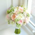 Peach David Austin roses, white dahlias, sweet avalanche, frilly scabiosa and wax flowers bridal bouquet Cherie Kelly Knowsley Hall
