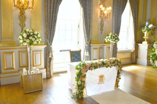 Registrar table flower arrangement flower garland Cherie Kelly Knowsley Hall Wedding